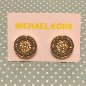 MK round Teal gold tone pave earrings